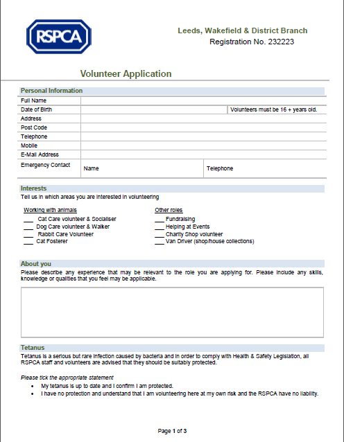 volunteering application forms